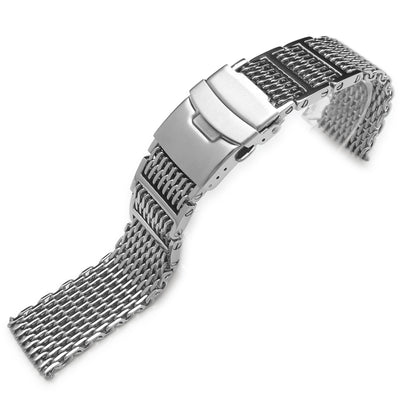 19mm, 20mm, 21mm or 22mm Flexi Ploprof 316 Reform SHARK Mesh Band, Polished 316L Stainless Steel - Strapcode