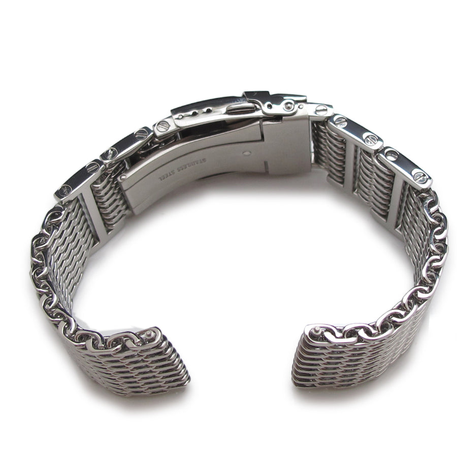 24mm Flexi Ploprof 316 Reform SHARK Mesh Band, Polished 316L Stainless Steel
