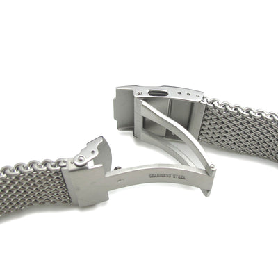 20mm 316L Stainless Steel Mesh Watch Bracelet, Solid End Lug and Diver Clasp - Strapcode