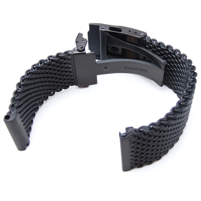 20mm PVD Black 316L Stainless Steel Mesh Watch Bracelet, Solid End Lug Diver Clasp - Strapcode