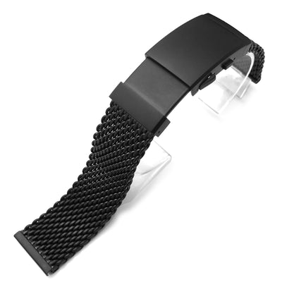 20mm 316L Stainless Steel Mesh Watch Bracelet, Solid End Lug, Wetsuit Ratchet Buckle, PVD Black - Strapcode