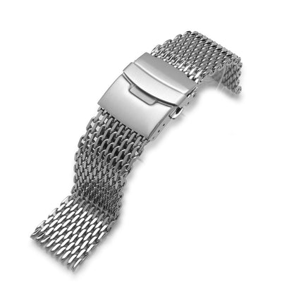 24mm Retro Ploprof Flatten SHARK Mesh Watch Band Milanese Band Polished