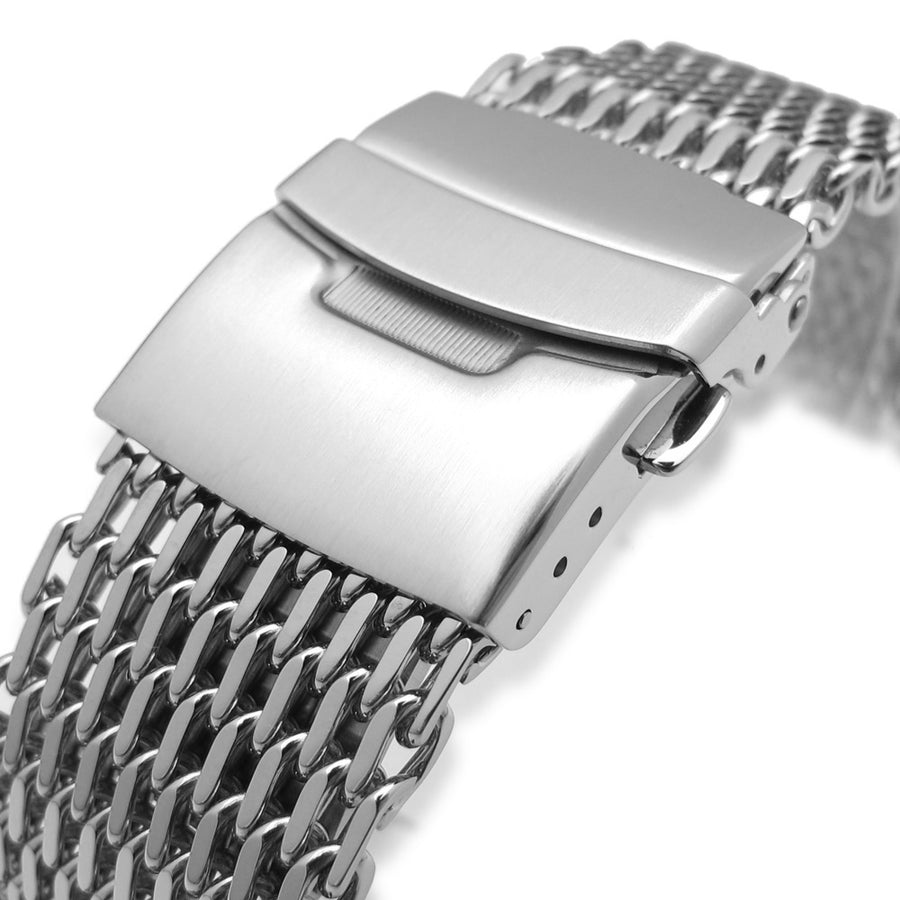 24mm Retro Ploprof Flatten SHARK Mesh Watch Band Milanese Band Polished Strapcode Watch Bands