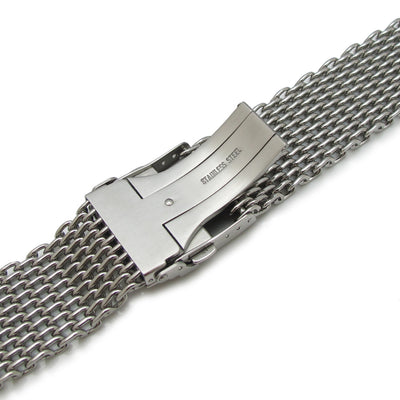 24mm Retro Ploprof Flatten SHARK Mesh Watch Band Milanese Band Polished - Strapcode