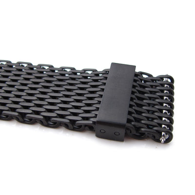18mm,20mm,22mm or 24mm Stainless Steel mesh band extension piece, PVD Black - Strapcode