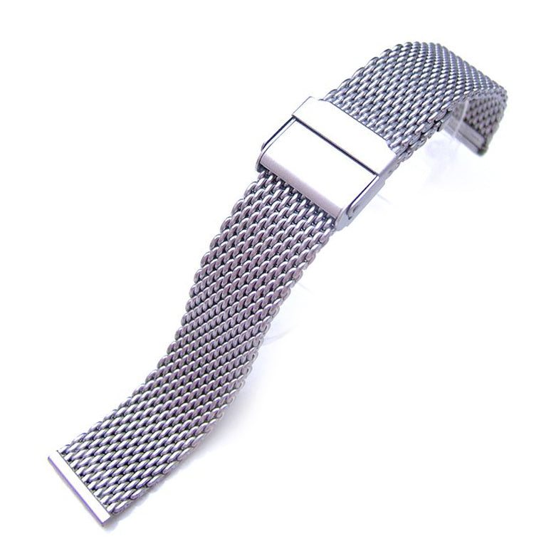 18mm Brushed Stainless Steel Wire Mesh Band Double Flip Interlock Clasp Strapcode Watch Bands