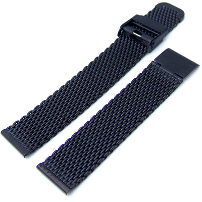 18mm Interlocking Black Mesh Divers Watch Band Bracelet, Polished - Strapcode
