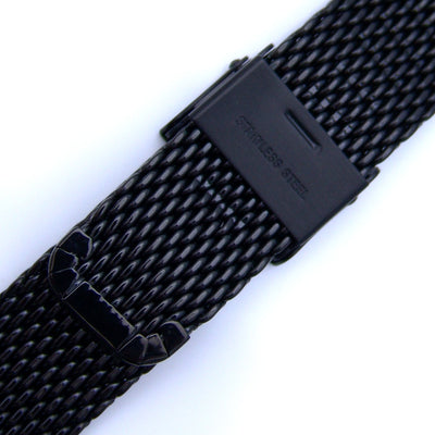 18mm Interlocking Black Mesh Divers Watch Band Bracelet Polished Strapcode Watch Bands