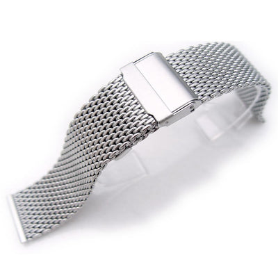 316L Stainless Steel Wire Mesh Band 20mm Double Flip Interlock Clasp Brushed Strapcode Watch Bands