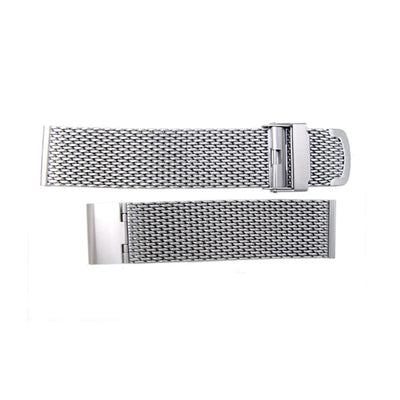 316L Stainless Steel Wire Mesh Band 20mm Double Flip Interlock Clasp, Brushed