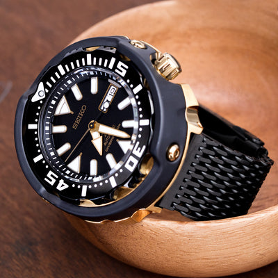 22mm Winghead SHARK Mesh Band Stainless Steel Watch Bracelet, Button Chamfer Clasp, PVD Black - Strapcode