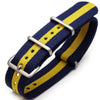 20mm G10 Nato James Bond Heavy Nylon Strap Brushed J13 Blue-Yellow-Blue (Sweden Ukraine) Strapcode Watch Bands