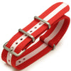 20mm Nato James Bond Strap Brush - J14 Red-Pink (Austria, Canada, Demark, Japan, Latvia, Malta, Monaco, Poland, Switzerland) - Strapcode