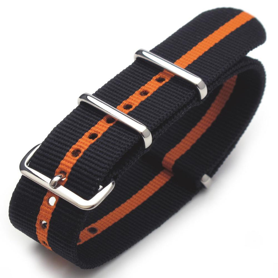 20mm G10 Nato James Bond Heavy Nylon Strap Polished Buckle - Black-Orange-Black