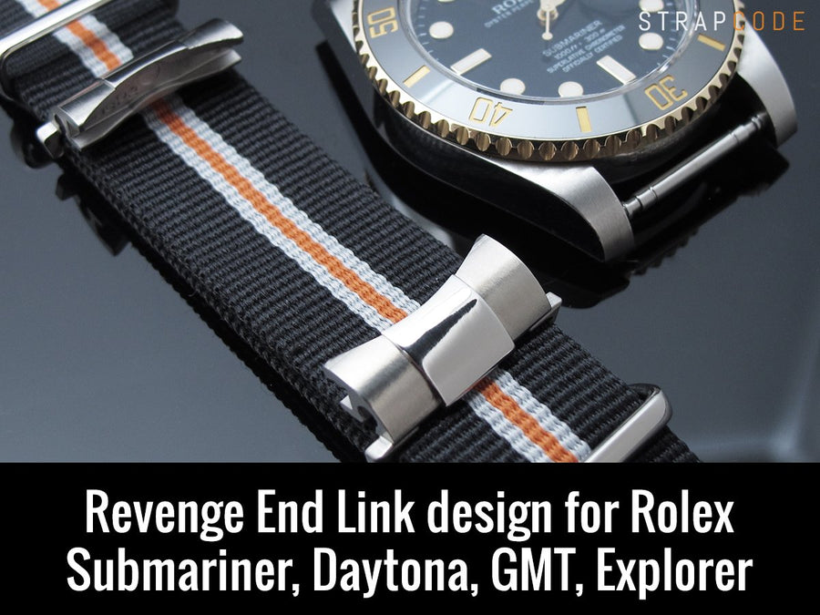 Revenge End Link Tailor-made for RX models - NATO G10 Plain Color Nylon Strap PVD Black