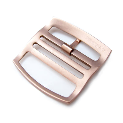 20mm, 22mm Solid 316L Stainless Steel Ladder Lock Slider tang buckle, IP Rose Gold - Strapcode