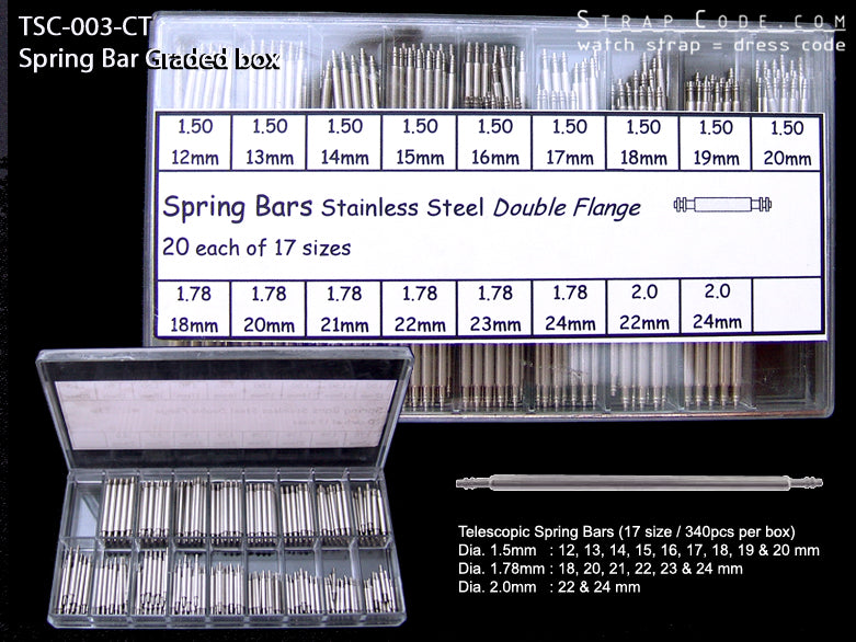 2 telescopic Spring Bar Graded Box - 340pcs/Box - Strapcode