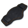 Matte Black Pull Up Leather BUND Pad for 20mm - 24mm watch straps, Brown Wax Stitching