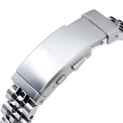 20mm ANGUS Jubilee 316L SS Watch Bracelet 20mm Straight End, Brushed, Ratchet Buckle - Strapcode