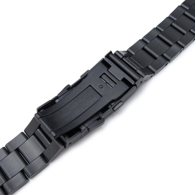 20mm Super Oyster watch band for SEIKO Sumo SBDC001, SBDC003, SBDC005, SBDC031, SBDC033, PVD Black, Wetsuit Ratchet Buckle - Strapcode