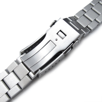 20mm Hexad Oyster 316L SS Watch Band Straight End Lug, Button Chamfer Clasp Brushed - Strapcode