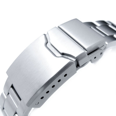 20mm Super Oyster 316L Stainless Steel Watch Band for Seiko Solar Power SSC015, Button Chamfer - Strapcode