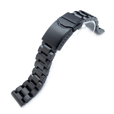 20mm Hexad Oyster 316L Stainless Steel Watch Band, Button Chamfer Clasp, PVD Black - Strapcode