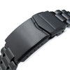 20mm Endmill Solid 316L Stainless Steel Watch Bracelet, Straight End PVD Black, V-Clasp Button Double Lock - Strapcode