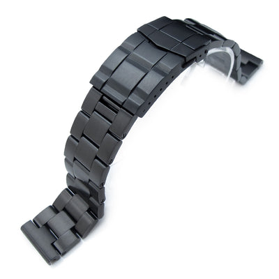 19mm, 20mm or 21mm Super Oyster Watch Band Straight End, PVD Black, Solid Submariner Clasp - Strapcode