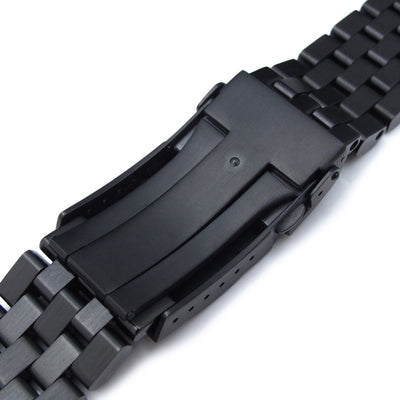 19mm, 20mm or 21mm Super Engineer II Solid Stainless Steel Straight End Watch Band, PVD Black, Solid Submariner Clasp - Strapcode