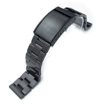 19mm, 20mm or 21mm Super Oyster watch band Straight End Lug, Solid Seatbelt Clasp PVD Black - Strapcode