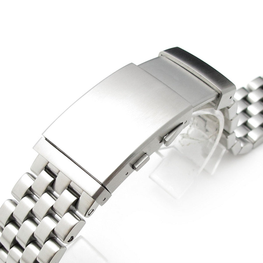 20mm or 22mm Super Engineer Solid Stainless Steel Straight End Watch Band Wetsuit Clasp, Brush