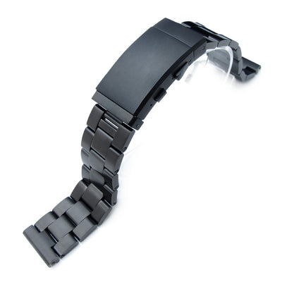 19mm, 20mm or 21mm Super-O Boyer Solid Stainless Steel Straight End Watch Band, PVD Black, Wetsuit Ratchet Buckle - Strapcode