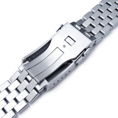 22mm Super Engineer Solid Stainless Steel Straight End Watch Band Button Chamfer, Brush