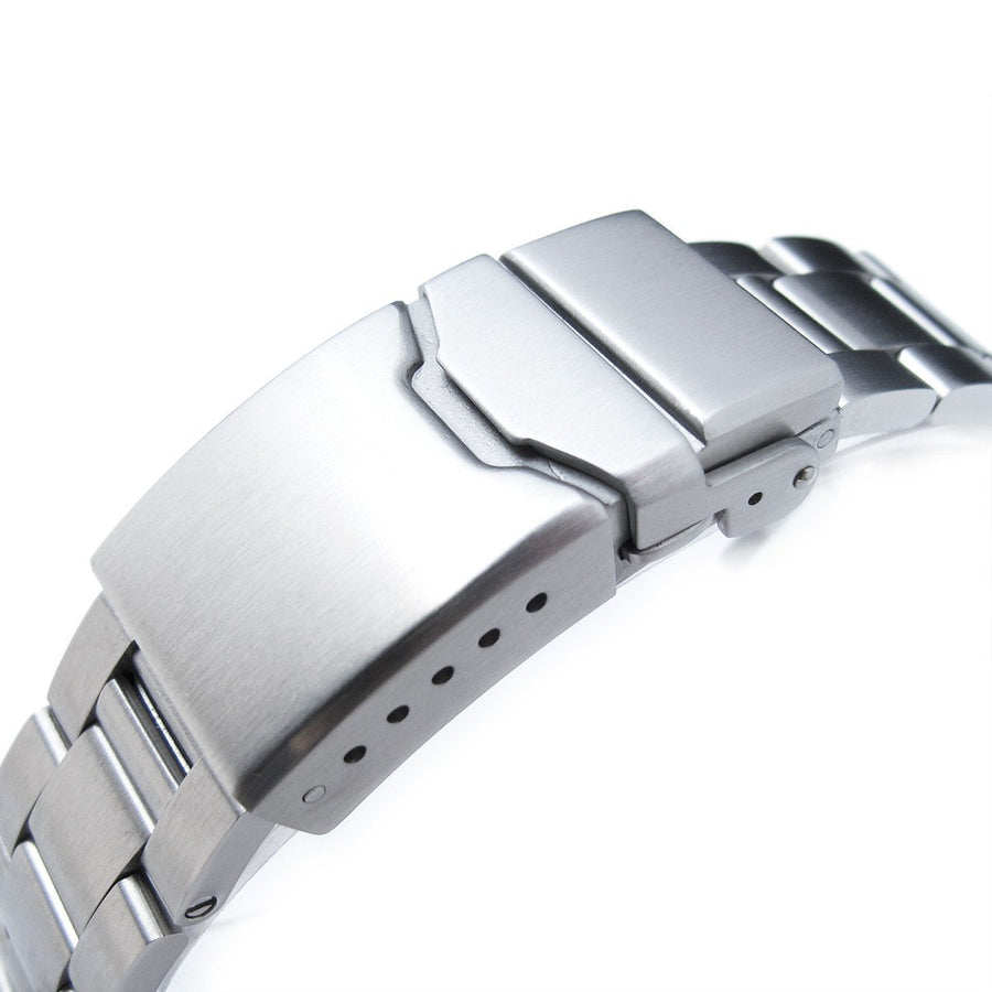 19mm, 20mm or 21mm Super-O Boyer Watch Bracelet Straight End Lug, Chamfer Clasp with Button
