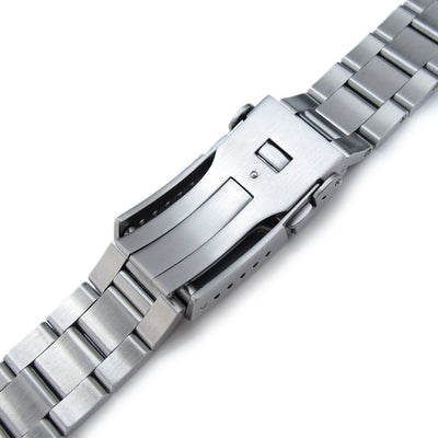 19mm, 20mm or 21mm Super-O Boyer Watch Bracelet Straight End Lug, Chamfer Clasp with Button - Strapcode