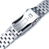 19mm, 20mm, 21mm, 22mm or 23mm Super Engineer II Solid SS Straight End Watch Band, Brushed, Button Chamfer Clasp - Strapcode