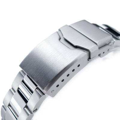 20mm Super Oyster Brushed & Polished 316L Stainless Steel Straight End Watch Band, Button Chamfer - Strapcode