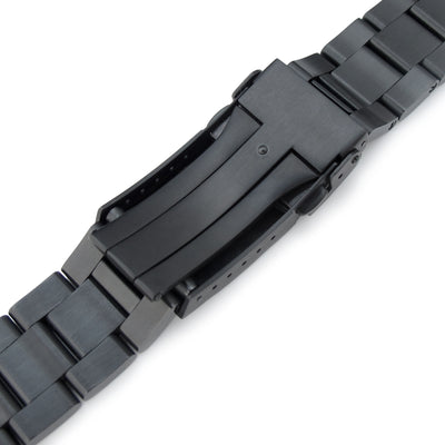 21.5mm Super Oyster 316L Stainless Steel Watch Band for Seiko Tuna, Submariner Diver Clasp PVD Black