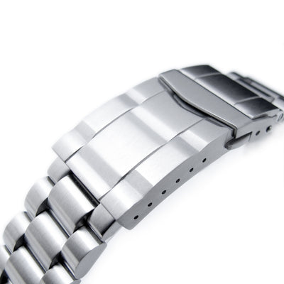 22mm Solid 316L Stainless Steel Endmill Metal Watch Bracelet, Straight End, Solid SUB Clasp