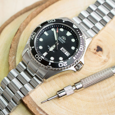 22mm Endmill 316L Stainless Steel Watch Bracelet for Orient Mako II , Ray II, Submariner Clasp Brushed