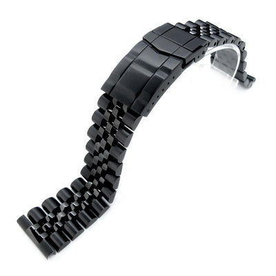 22mm Super Jubilee PVD Black 316L SS Watch Bracelet, Solid Straight End, Submariner Clasp