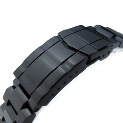 22mm Hexad Oyster 316L Stainless Steel Watch Band Straight Lug, Submariner Clasp, PVD Black
