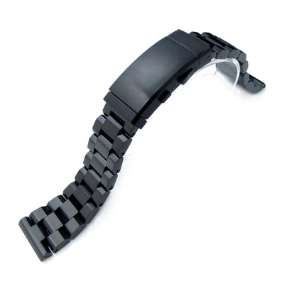 22mm Hexad 316L Stainless Steel Watch Band Straight Lug, Wetsuit Ratchet Buckle, PVD Black
