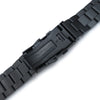 22mm Hexad Oyster 316L Stainless Steel Watch Band Straight Lug, Wetsuit Ratchet Buckle, PVD Black