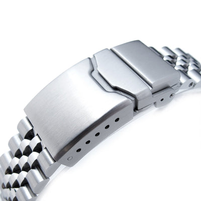 22mm Super Jubilee 316L Stainless Steel Watch Band, Solid Straight End, Button Chamfer