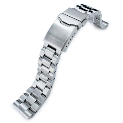 22mm Hexad Oyster 316L SS Watch Band for Seiko New Turtles SRP777 & PADI SRPA21, Button Chamfer Brushed