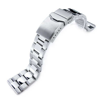 22mm Super Oyster Brushed & Polished 316L Stainless Steel Straight End Watch Band, Button Chamfer
