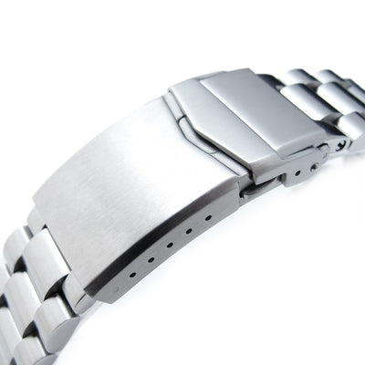 22mm Endmill 316L Stainless Steel Watch Bracelet for Seiko 5, Brushed V-Clasp - Strapcode