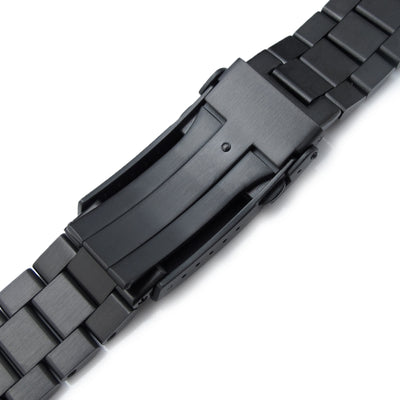 22mm Solid 316L Stainless Steel Endmill Metal Watch Bracelet Straight End V-Clasp PVD Black Strapcode Watch Bands